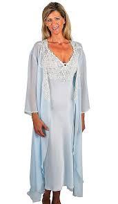 peignoir sets bridal peignoir set satin chiffon bridal blue w lace trim small xl