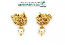 peacock design earrings in gold 22k gold peacock diamond earrings with rubies 235 der774