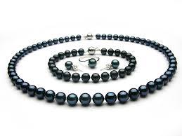 black pearl bracelet images Black akoya pearl jewelry set 6 5 7mm aaa pearl jewelry sets jpg