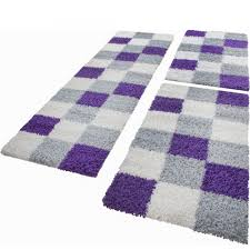 Schlafzimmer Teppich Set Läuferset Grau Lila Weiß 3tlg Design Teppiche