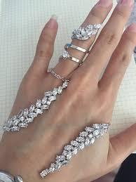 fashion bracelet sets images Fashion flower crystal zircon women jewelry set double finger jpg