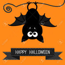 cute happy halloween pictures cute bat and black ribbon happy halloween card vector