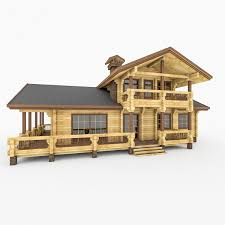 wood log house with terrace 3d cgtrader