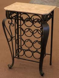 iron wine rack table with faux marble top