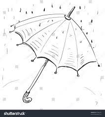 umbrella under rain hand drawing cartoon stock vector 87398276