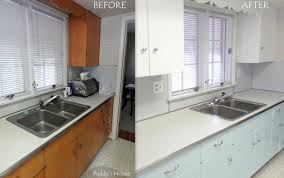 Resurfaced Kitchen Cabinets Before And After Kitchen Cabinet Refinishing Before After Diy Kitchen Cabinets