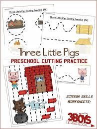 three little pigs preschool cutting practice free worksheets