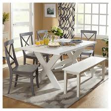 sumner dining set with bench white gray 6 piece tms target