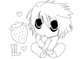 death note by lineartartist chibi drawing