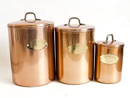 vintage copper tone canister set colored aluminum kitchen
