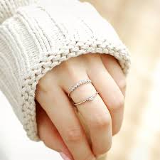 fashion double rings images Double layers micro pave zircon rings for women fashion jewelry jpg