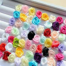 satin ribbon flowers 100pcs small mini satin ribbon flowers wedding decor sewing