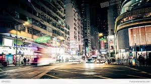 hong kong city nights hd wallpapers night view of modern city street with moving cars hong kong time