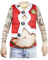 faux real men u0027s santa suit with tattoos tank and long mesh sleeves