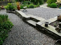 Patio And Walkway Designs by Exterior Cozy Concrete Walkway With Pea Gravel Patio And Lounge Chair