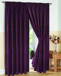 Aubergine Curtains Pair Of Fully Lined Aubergine 90 Width X Drop 108 Jacquard Swirl