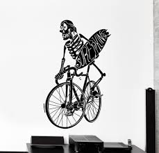 Cycling Home Decor Vinyl Wall Decal Surf Surfing Skeleton Bike Bycicle Big Home