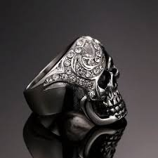 imagenes de calaveras hombres compra anillo de calavera de diamantes de moda punk los hombres de