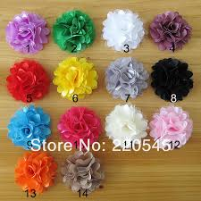 flowers for headbands without clip 2 mini tulle mesh satin silk flowers for headbands