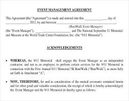 event contract agreement event agreement template personal