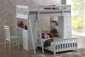 Cream Wood Bookcase Kids Bed With Desk Box Cream Smooth Minimalist Laminated Wooden