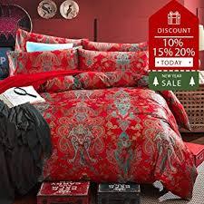 amazon com floral red duvet cover set cotton queen size