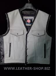 white leather motorcycle jacket mens leather vest braided style mlvb1301 two color leather vest mens