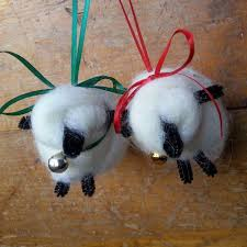 handmade sheep ornaments colorado homegrown wool dyers wool