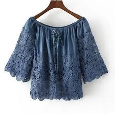 denim blouses 2018 denim blouses shirt patchwork lace hollow out slash