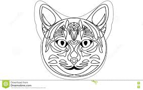 cat head animated drawing video in white and black outline design