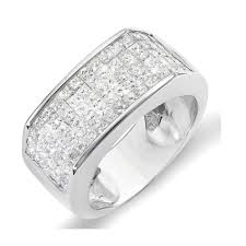 mens wedding bands with diamonds 2 00 carat ctw 14k white gold princess diamond invisible set