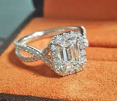 twisted shank engagement ring new 1 55 ct halo pave emerald cut twist shank engagement