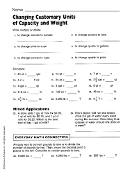 customary measurement worksheets fioradesignstudio