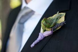 succulent boutonniere lavender and succulent boutonniere