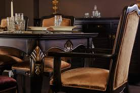 dining room portofino dark brown walnut carved wooden handmade