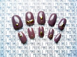 marsala marquise studded false nail set meero mani nails