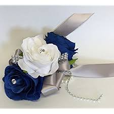 royal blue corsage wrist corsage royal blue and silver artificial