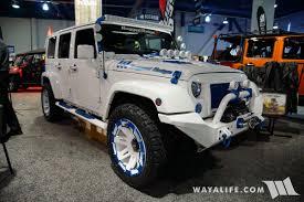 white jeep renegade 2017 2017 sema rugged ridge white blue jeep jk wrangler unlimited