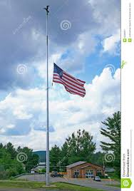 Flying The Flag At Half Staff Lowered Half Mast American Flag On Flagpole Stock Image Image