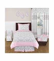 Pink And Grey Comforter Set Sweet Jojo Designs Elizabeth Grey U0026 Pink Twin Bedding Set