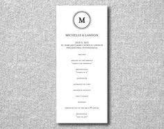Printable Wedding Programs Printable Wedding Program Script Elegance Diy Printing