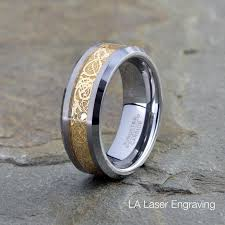 gold inlay engraving tungsten carbide wedding band 8mm yellow gold plated