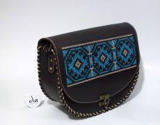genti piele handmade geanta piele naturala brodata manual cu motive traditionale