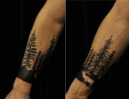 forest pine tree tattoos on forearm