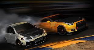 Nissan Gtr Drift - evo vs gtr drift by 3dmanipulasi on deviantart