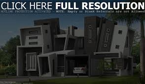 facade modern white cubic house with garden floor front lawn