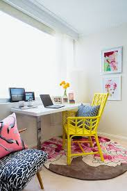office colorful home office with small desk and yellow