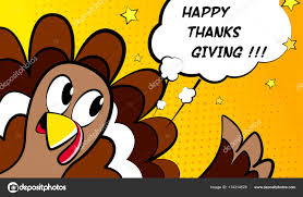 happy thanksgiving vector card with turkey comics style