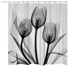 tulips shower curtain black and white contemporary shower