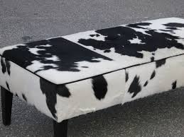 Long Ottoman Fireplace Inspiring Cowhide Ottoman For Home Furniture Ideas